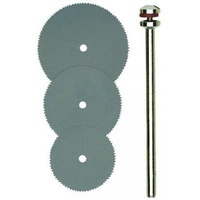 Cutting disc set, spring steel, 0.1mm width, 3 pcs with arbor