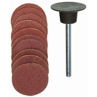 Sanding bit, disc, corundum, 120/150 grit, 18mm, 11 pcs with holder