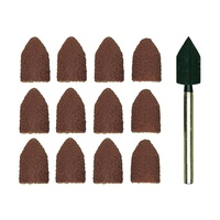 28987 Sanding bit, cap, corundum, 80/150 grit, 9x13mm, 10 pcs with holder