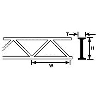 90654 (OWTS-12 / pack of 2) 3/8″ STYRENE WARREN OPEN WEB TRUSS