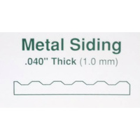 "STYRENE Corrugated Metal Siding Groove Spacing 1.0mm (.040"") 300mm x 600mm (12"" x 24"")"