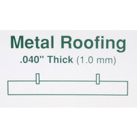 "STYRENE METAL ROOFING 6.3mm (1/4"") Groove Spacing 150mm x 300mm (6"" x 12"")"